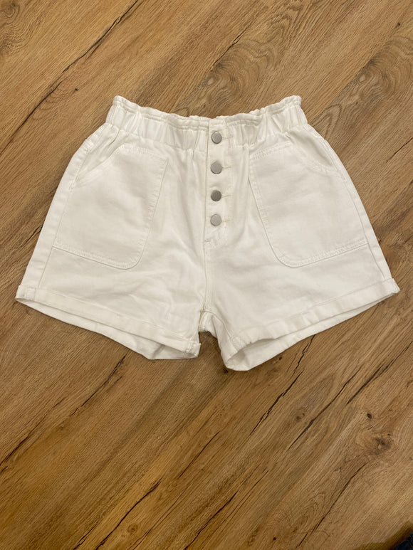 High Waist White Denim Shorts