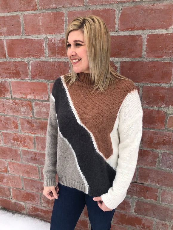 Camel and Charcoal Color Block Sweater