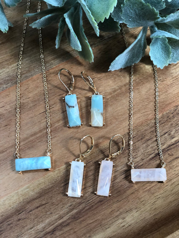 Bar necklace and earring set