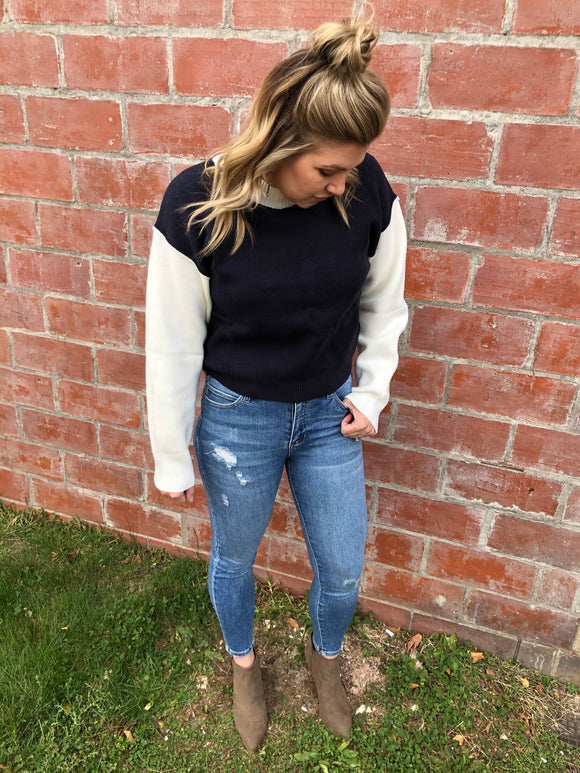Navy and White Sweater - Medium/Large