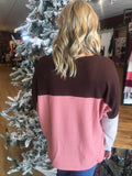 Pink and Brown Color Block Waffle Knit Top