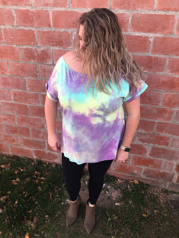 The Perfect Purple Tie Dye Top - Curvy