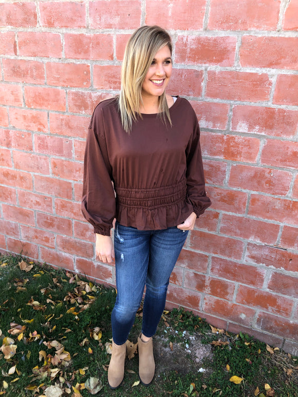 Smocked Waist Ruffle Knit Top - Chestnut