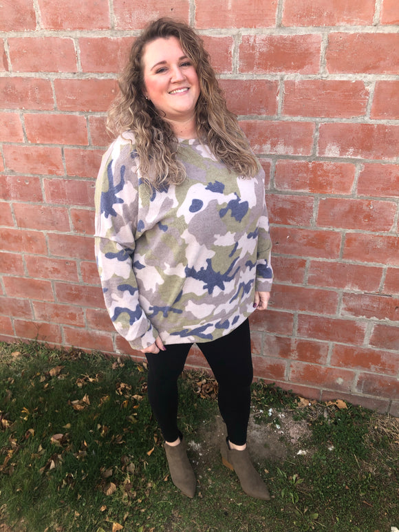 Cozy Camo Sweater - Curvy