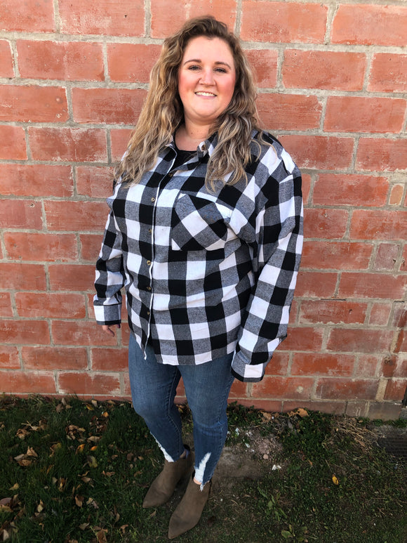 Black & White Buffalo Plaid Button Up - Curvy