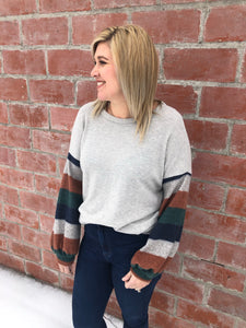 Gray Top with Stripe Sleeve - 2 Colors
