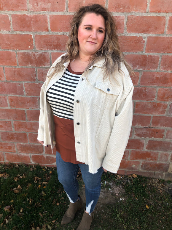 Cream Corduroy Button Up - Curvy