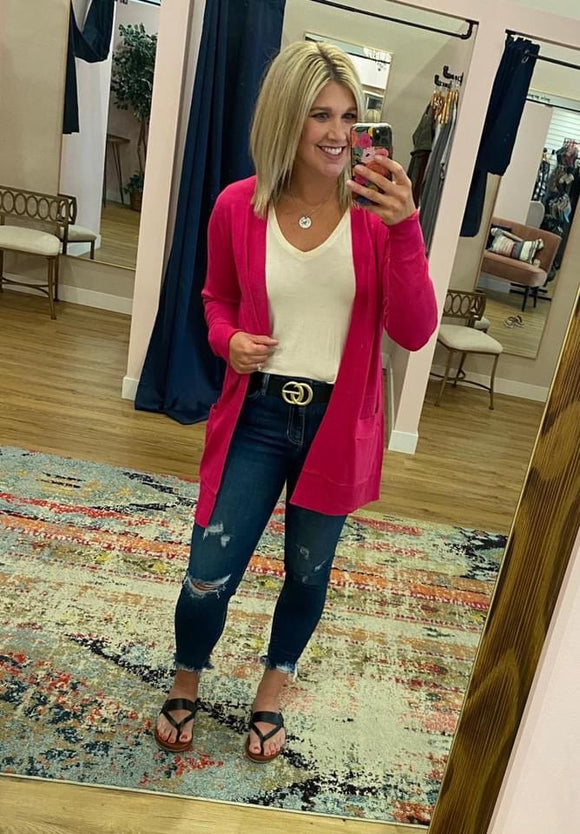 Long Open Cardigan - Hot Pink