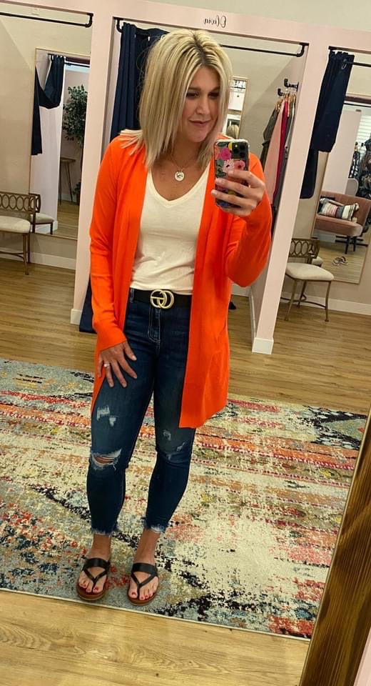 Long Open Cardigan - Hot Coral