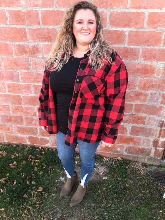 Red & Black Buffalo Plaid Button Up - Curvy