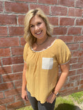 Mustard Plaid Pocket Woven Top
