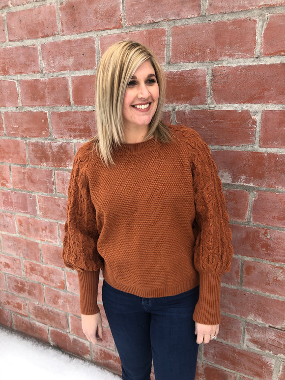 Camel Bubble Sleeve Sweater