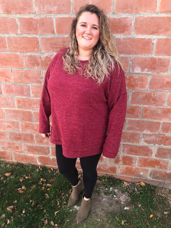 Burgundy Sweater - Curvy