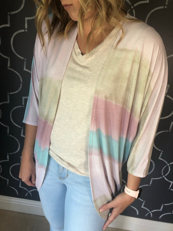 Pink, Taupe and Blue Ombre Kimono