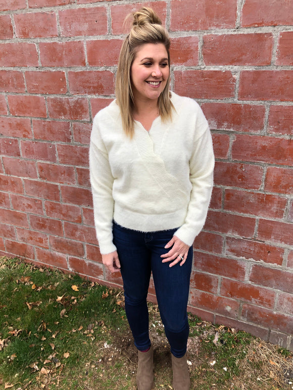 Cream Sweater with Scalloped Hem - Medium & Large