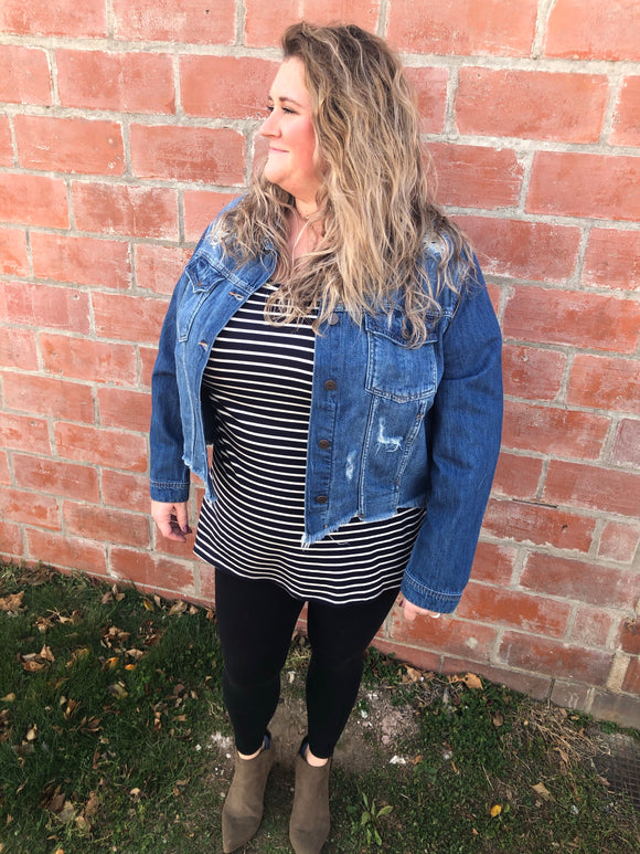 Dark Wash Denim Jacket Curvy