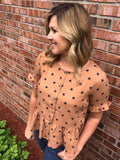 Brown and Navy Star Print Woven Peplum Top