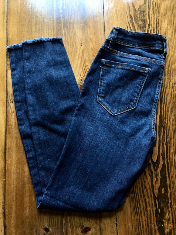Mid Rise Dark Denim with Frayed Hem