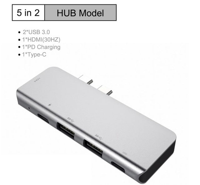 Multi  USB C HUB to HUB USB 3.0 HDMI 4K /SD/TF Card Reader/ PD charging  Audio /RJ45 Adapter for MacBook Pro type c usb splitter