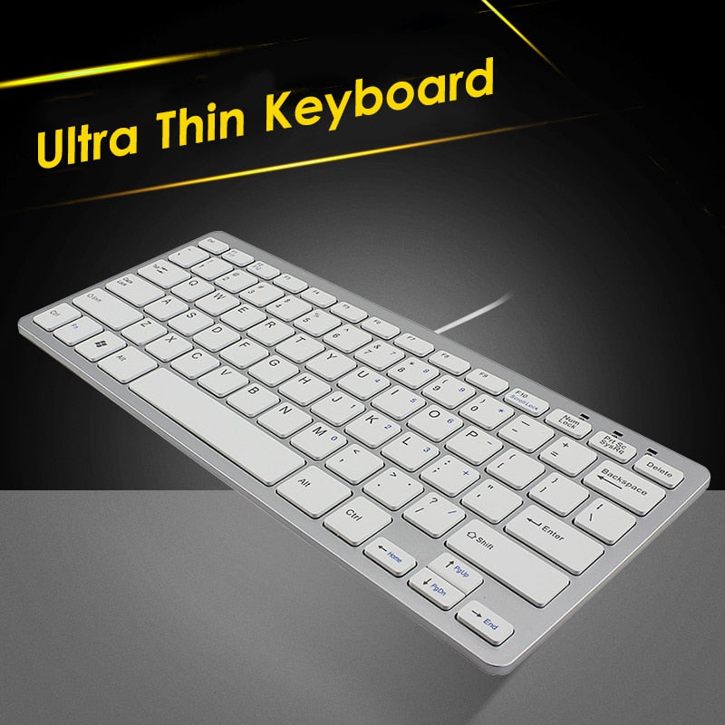 CHYI Mini Slim Portable Keyboard Usb Cable Wired Ultra Thin PC Computer White Keybord For Laptop Ergonomic Office Keypad For Mac