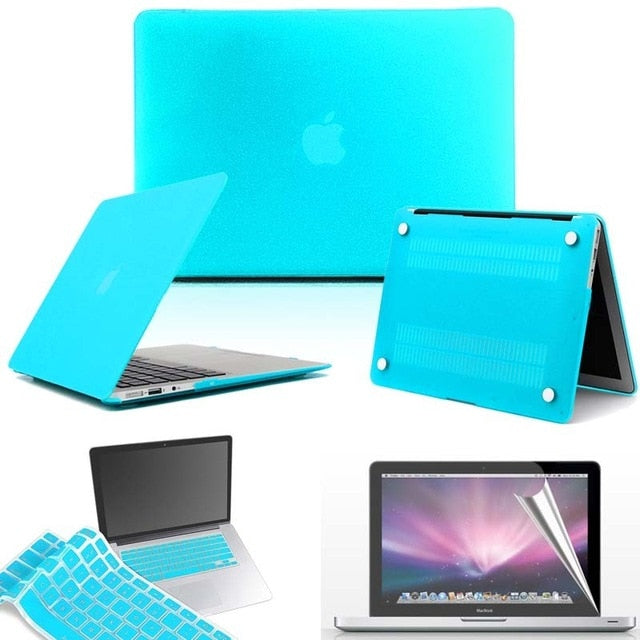 KK&LL Matte Hard Shell  Laptop Protector case + Keyboard Cover + Screen For Apple MacBook Air Pro Retina 11 12 13 15