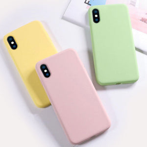 USLION Silicone Solid Color Case for iPhone XS 11 Pro MAX XR X XS Max Candy Phone Cases for iPhone 11 7 6 6S 8 Plus Soft Cover