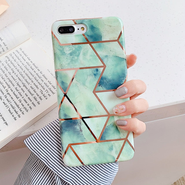 Geometric Marble Phone Cases Soft IMD Electroplated Back Cover Shell