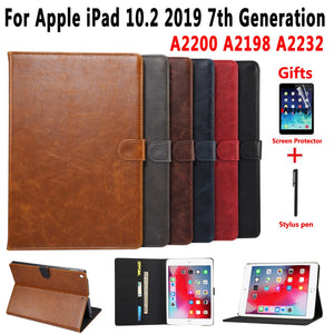 Premium Leather Case for Apple iPad 10.2 2019 7 7th Generation A2197 A2200 A2198 A2232 Cover Smart Case for iPad 10.2 +Film+Pen
