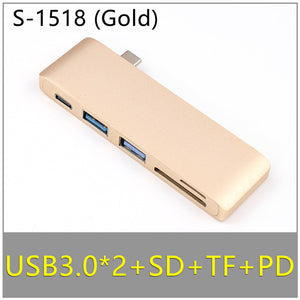 Dual Ports USB C Hub to 4K HDMI Adapter Thunderbolt 3 Dual USB 3.1 Data Type-C Hub TF SD PD Adapter for MacBook Pro Air 13 2019