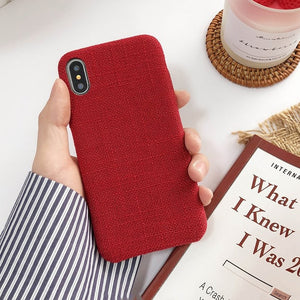 Autumn Warm Plaid Plush Phone Case Simple Cloth Fabric Soft Tpu Cases for Iphone 11 11 Pro Max 7 8 plus X XSMax XR 6 6s Cover