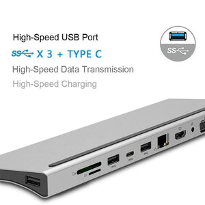 11 in 1 USB Type C HUB to USB 3.0 HDMI RJ45 USB Splitter HUB Card Reader PD Docking station for MacBook Pro Notebook Charger PC