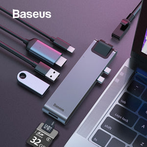 Baseus USB HUB C HUB to Multi USB 3.0 HDMI Adapter USB Splitter for MacBook Pro Thunderbolt 3 Dock RJ45 Dual USB Type C HUB Dex