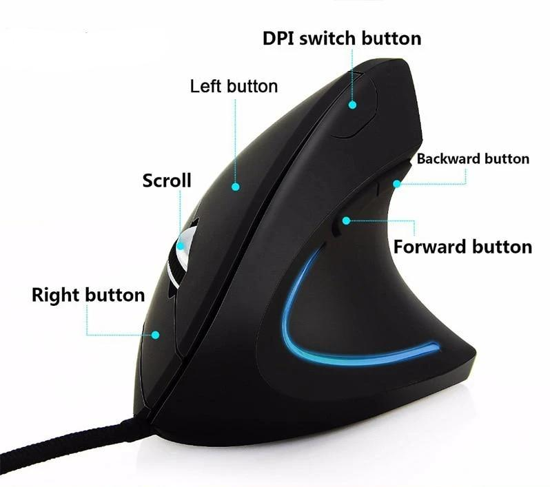 Vertical Mouse Wired Gross Weight 130G Dpi 2400 Gaming Mouse Wired Mice Usb For Apple Mac Os/Windows Pc/Laptops
