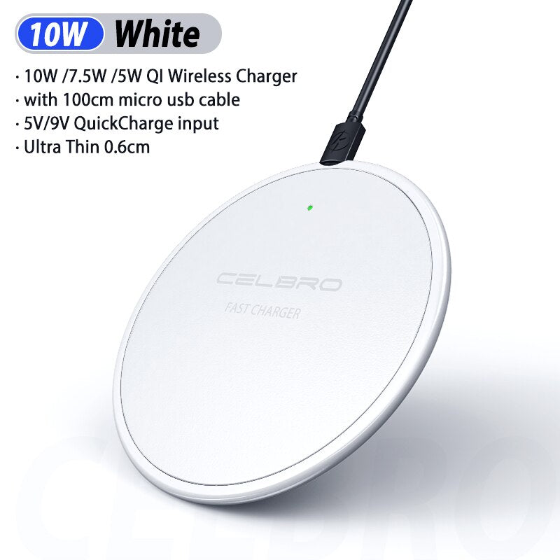 10W Qi Wireless Charger Pad Charging Docking Station for Samsung Galaxy S20 Ultra Note 10 Plus IPhone 11 Pro Max Android Phone