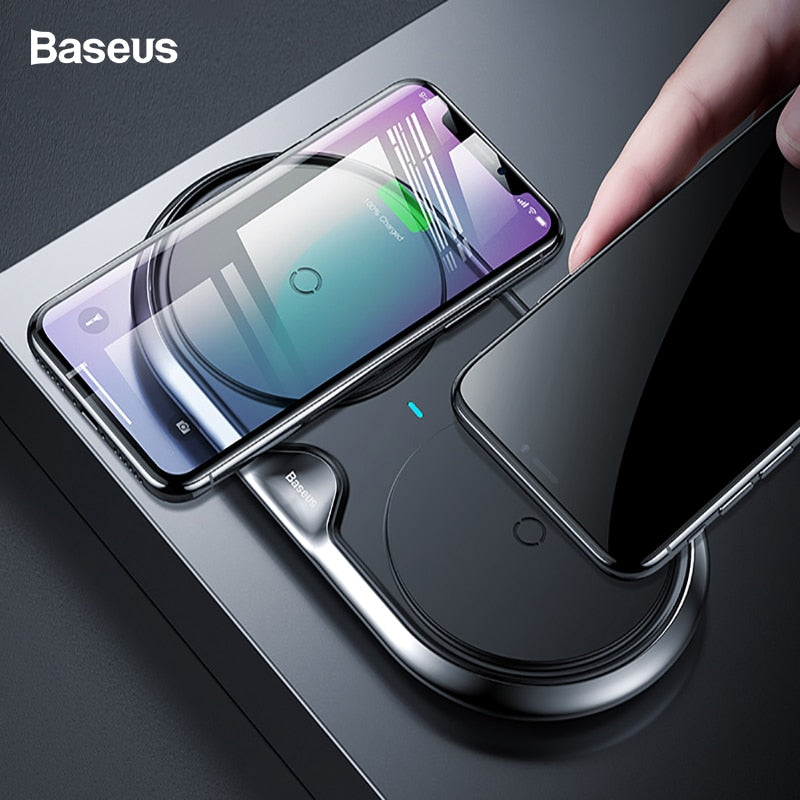 Baseus 10W Dual 2 in 1 QI Wireless Charger For iPhone Xs Max X Samsung S10 S9 S8 Xiaomi Mi 9 Fast Wireless Charging Charger Pad