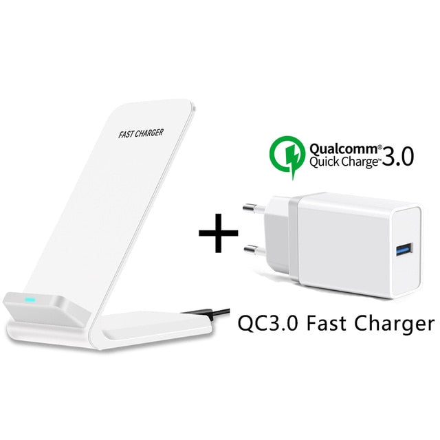 CinkeyPro QI Wireless Charger Quick Charge 2.0 Fast Charging for iPhone 8 10 X Samsung S6 S7 S8 2-Coils Stand 5V/2A & 9V/1.67A