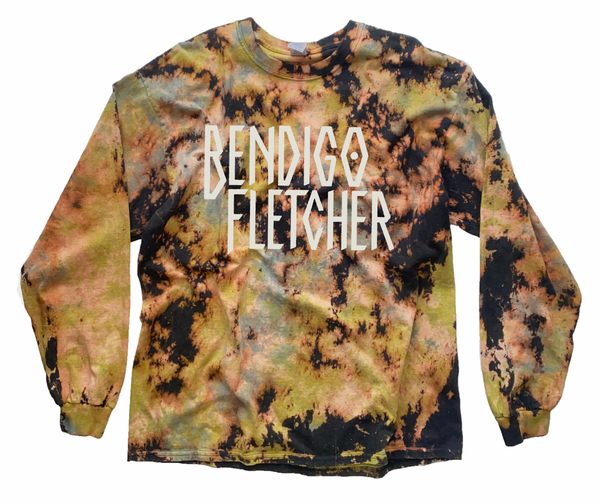 acid washed double dyes long sleeve t-shirts