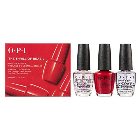OPI Trio Gift Kit The Thrill Of Brazil NAIL LACQUER, BASE & TOP COAT 3 x 15ml