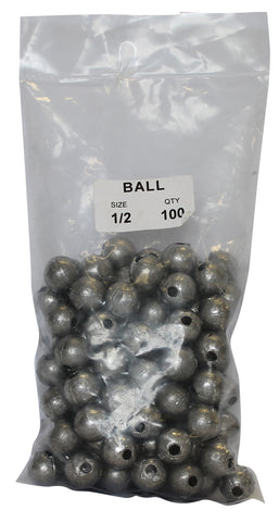 Ball Sinker Bulk Pack 1/2oz (100 per pack)