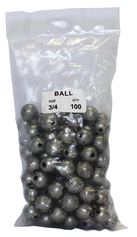 Ball Sinker Bulk Pack 3/4oz (100 per pack)