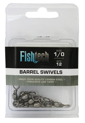 Fishtech 1/0 Barrel Swivels (12 per pack)