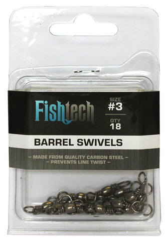 Fishtech #3 Barrel Swivels (18 per pack)