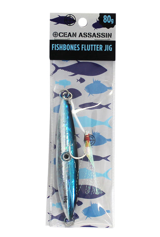 Ocean Assassin Fishbones Flutter Jig - Blue 80g