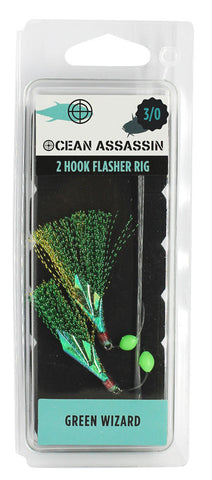 Ocean Assassin Green Wizard Flasher Rig - 3/0 - REPLACEMENT FOR FE514