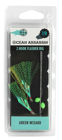 Ocean Assassin Green Wizard Flasher Rig - 7/0 - REPLACEMENT FOR FE529