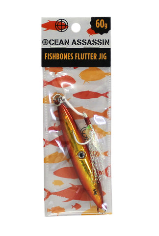 Ocean Assassin Fishbones Flutter Jig - Orange 60g