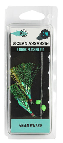 Ocean Assassin Green Wizard Flasher Rig - 8/0