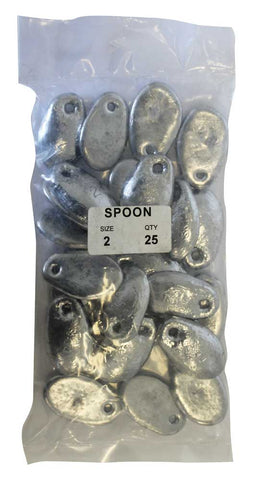 Spoon Sinker Bulk Pack 2oz (25 per pack)