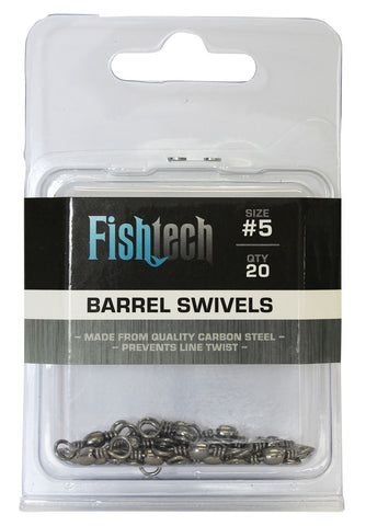 Fishtech #5 Barrel Swivels (20 per pack)