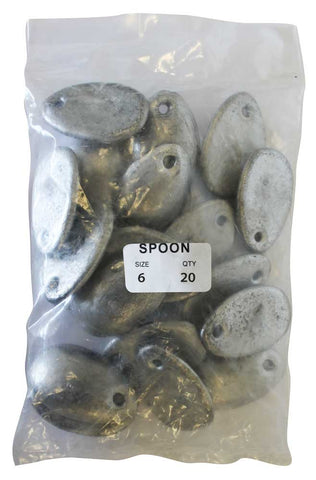 Spoon Sinker Bulk Pack 6oz (20 per pack)